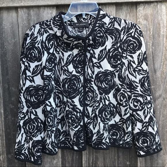 St. John Jackets & Blazers - ST. JOHN Textured Floral Knit Cape Jacket Black 10